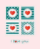 Greeting card with hearts. Text I love you. Vector illustration Royalty Free Stock Photos