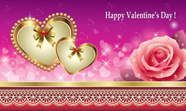 Greeting card with hearts for Valentines day Royalty Free Stock Photos