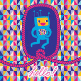 Greeting card Hello with robot and rope frame Royalty Free Stock Photography