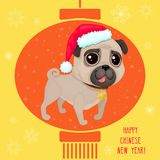 Greeting card for Сhinese New year with a cute pug. Color illustrations with catoon dog in Santa`s hat. Background with Chinese lantern and snowflakes Stock Illustration