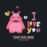 Greeting card with hippo Stock Photography