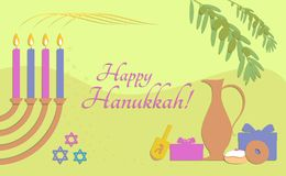 Greeting card for holiday of Hanukkah paper stile vector illustration