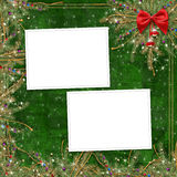 Greeting card for the holiday, with a red ribbon Stock Image