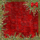 Greeting card for the holiday, with a red ribbon Stock Photo