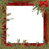 Greeting card for the holiday, with a red ribbon. And branches of spruce Royalty Free Stock Photography