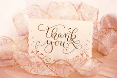 Greeting card for the holiday with text Thank you. Calligraphy lettering.  Stock Image
