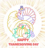 Greeting card Thanksgiving day cornucopia. Greeting card. Holiday - Thanksgiving day. Icon in the linear style in the form of a cornucopia and a turkey Stock Photography