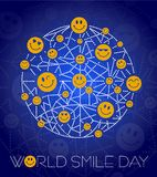 Background World Smile Day line. Greeting card. Holiday - World Smile Day. concept of charging the smile of the whole world Royalty Free Stock Photo
