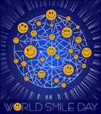 Greeting card World Smile Day. Greeting card. Holiday - World Smile Day. concept of charging the smile of the whole world royalty free illustration