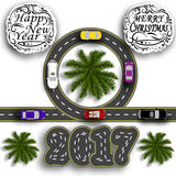 Greeting card with holidays. Travel the holidays. Road with a marking. Cars. Greeting inscription Happy New Year 2017. And Merry Christmas. Vector illustration stock illustration