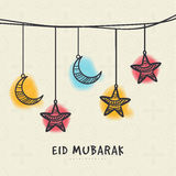 Greeting card for holy festival Eid celebration. Stock Photography