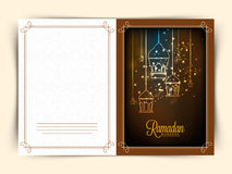 Greeting card for holy month Ramadan Kareem celebration. Royalty Free Stock Photography