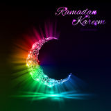 Greeting card of holy Muslim month Ramadan with magical Crescent Stock Photography