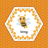 Greeting card with honey bee. Royalty Free Stock Photos