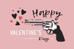 Greeting card or horizontal banner template with Happy Valentine s Day holiday romantic wish and gun emitting hearts. Hand drawn on pink background. Modern Royalty Free Stock Image