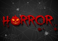 Greeting card for horror night spiders web background.Vector ill. Ustration Royalty Free Stock Photography