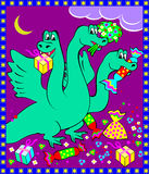 Greeting card with Hydra holding presents. Royalty Free Stock Photo