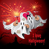 Greeting card I love Halloween with Ghosts. Greeting card with two cute Halloween ghosts Royalty Free Stock Photos