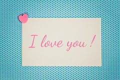 Greeting card i love you Stock Image
