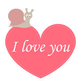 Greeting card I love you with a heart and a cute snail. template Stock Photo