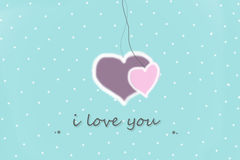 greeting card with i love you sign on a  blue background with white dots Royalty Free Stock Photo