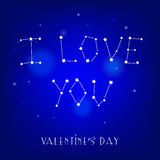 Greeting card I love you with star and constellation. Vector hand drawn lettering Royalty Free Stock Image
