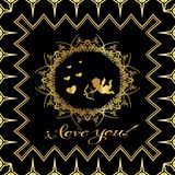 Greeting card  `I love you!`. Greeting card `I love you!` Vintage golden style Black background Stock Photos