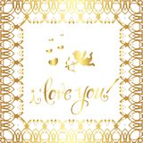 Greeting card `I love you!`. Vintage golden style Decorative,abstract,floral elements,gold patterns on a white background. A heart and a golden Cupid vector illustration