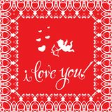 Greeting card `I love you!`. Vintage golden style Red background. A heart and a golden Cupid royalty free illustration