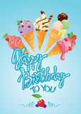 Greeting card with ice cream cones on blue background. Calligrap Royalty Free Stock Photography