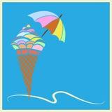 Greeting card with ice cream Stock Photo