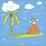 Greeting card, illustration. Brown monkey sitting on a green island in the blue ocean, green palm. White clouds, 2016. For travel agencies, hotel, resort Stock Images