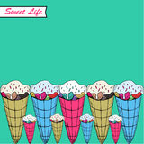 Greeting card. A  illustration with sweets and the text Sweet life. Cute background. Royalty Free Stock Photos