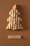 Greeting card with the image of a Christmas tree cookie Stock Photo