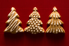 Greeting card with the image of a Christmas tree cookie Royalty Free Stock Photo