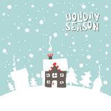 Greeting card. Image gingerbread house on a snowy Stock Images