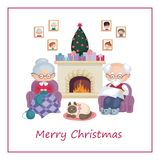 Grandma and grandpa by the fireplace. Greeting card with the image of the grandmother and grandfather celebrating Christmas. Vector illustration in cartoon style Stock Photos