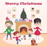The family celebrates Christmas Royalty Free Stock Photo