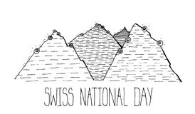 Greeting card image for Switzerland national day. Swiss national day sketch vector monochrome illustration Royalty Free Stock Photo