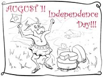 Card with Independence Day on August 1 royalty free illustration
