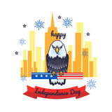 Greeting card for Independence day with bald eagle. Poster of 4th of July. Greeting card for 4th of July Independence day with bald eagle Stock Photo