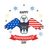 Greeting card for Independence day with bald eagle. Poster of 4th of July. Greeting card for 4th of July Independence day with bald eagle Royalty Free Stock Image