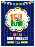 Greeting card for Indian Independence Day. Stock Photos