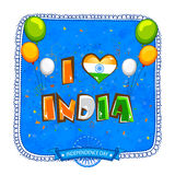 Greeting card for Indian Independence Day. Elegant greeting card decorated with stylish tricolor text I Love India and flying balloons on grungy blue background Royalty Free Stock Images