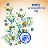Greeting card for Indian Independence Day. Elegant greeting card design decorated with beautiful floral pattern in peacock feather shape on shiny background for Royalty Free Stock Photography