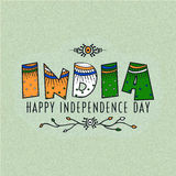 Greeting card for Indian Independence Day. Royalty Free Stock Images