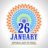 Greeting card for Indian Republic Day celebration. Royalty Free Stock Photos