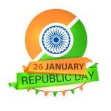 Greeting card for Indian Republic Day celebration. Shiny Ashoka Wheel with National Flag colour tags for 26 January, Indian Republic Day celebration Royalty Free Stock Photography