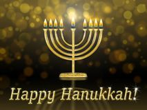Greeting card with inscription - happy hanukkah. Golden hanukkah menorah hanukiah with burning candles stock illustration