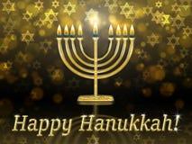 Greeting card with inscription - happy hanukkah. Golden hanukkah menorah hanukiah with burning candles royalty free illustration